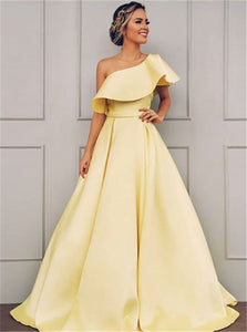A Line Sweep Train Yellow Saitn Prom Dresses with Pleats