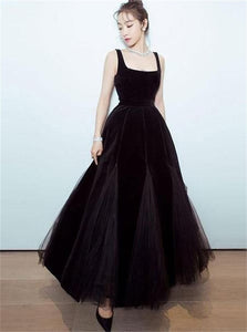 A Line Black Velvet Tulle Prom Dresses with Pleats