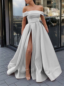 Silver Off the Shoulder Satin Prom Dresses