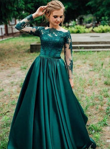 Dark Green Appliques Satin Prom Dresses with Sweep Train