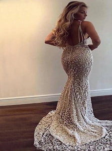 Sweep Train White Beading Evening Dresses