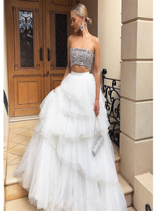 A Line Strapless Tulle Sequins White Prom Dresses