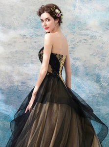 A Line Black Tulle Sweetheart Neck Floor Length Lace Up Prom Dresses