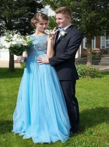 Sleeveless Beadings Blue Prom Dresses