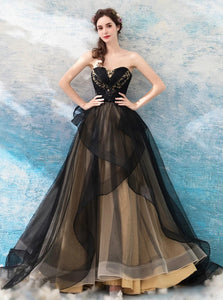 Black Tulle Sweetheart Neck Floor Length Prom Dresses