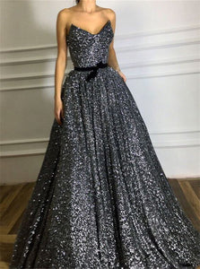 A Line Strapless Sequin Prom Dresses with Belt