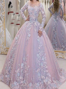 Long Sleeves Ball Gown  Appliques Scoop Tulle Prom Dresses