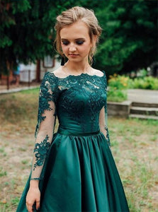 A Line Dark Green Long Sleeves Satin Prom Dresses