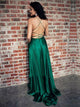 Straps Emerald Green Satin Criss Cross Sweep Train Prom Dresses with Slit