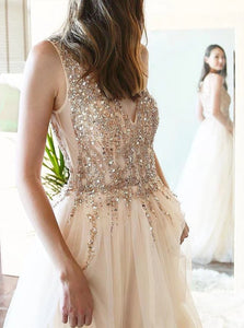 A Line V Neck Tulle Sequins Open Back Sweep Train Prom Dresses with Slit