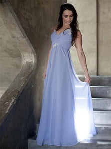 A Line V Neck Floor Length Chiffon Prom Dresses