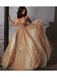 A Line Sweetheart Chapel Train Backless Golden Prom Dresses