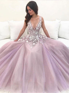 Pink Chiffon Sleeveless Prom Dresses with Sweep Train