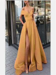 A Line Off the Shoulder Short Sleeves Gold Satin Prom Dresses with Split