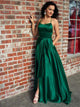 Straps Emerald Green Satin Criss Cross Prom Dresses with Slit