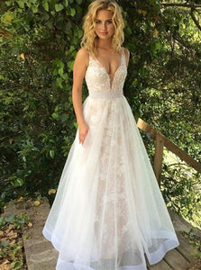 A Line V Neck Lace Sweep Train Prom Dresses with Beadings
