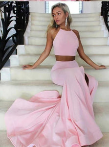 Two Piece A Line Spaghetti Straps Satin Prom Dresses With Slit