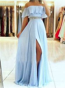 A Line Off The Shoulder Split Blue Chiffon Prom Dress With Beadings LBQ1356