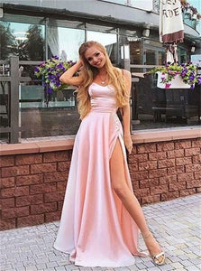 A Line Sweetheart Satin Pink Prom Dresses with High Slit