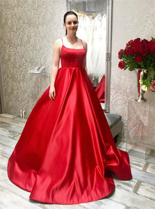 A Line Red Lace Up Satin Prom Dresses with Pleats
