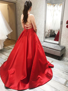 Spaghetti Straps Satin Prom Dresses with Sweep Train