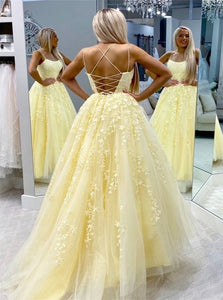 A Line Tulle Appliques Prom Dress with Sweep Train