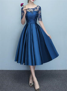 Blue Half Sleeves Satin Prom Dresses with Appliques