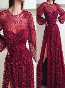 Burgundy Sweep Train Evening Dresses with Slit