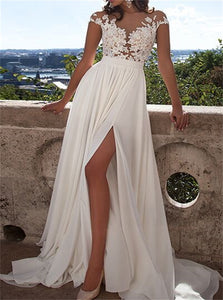 Ivory Appliques Slit Cap Sleeves Prom Dresses