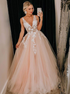 A Line Tulle V Neck Prom Dress With Lace Applique LBQ1457