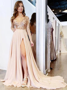 Chiffon Long Sleeves Open Back Prom Dresses with Slit