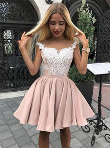 Cap Sleeves Dusty Pink Satin Appliques Short Prom Dresses