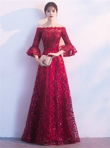 Burgundy Off The Shoulder Sequins Tulle Prom Dresses