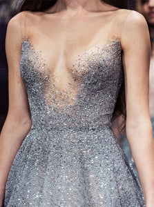 V Neck Sequin Tulle Silver Sleeveless Prom Dresses