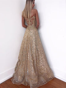 A Line Criss Cross Sleeveless Golden Prom Dresses
