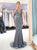 Long Sleeves Grey Rhinestone Tulle Mermaid Prom Dresses