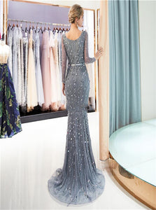 Grey Rhinestone Tulle Mermaid Prom Dresses with Sweep Train