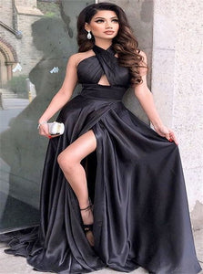 A Line Halter Satin Black Prom Dresses with Slit