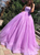 Spaghetti Strap Ball Gown Lilac Tulle Lace Up Pleats Prom Dresses