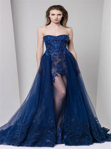 Navy Blue Sweetheart Appliques Tulle Prom Dresses