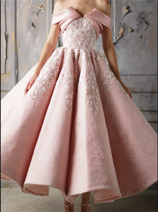 Off the Shoulder Blush Pink Lace Appliques Ankle Length Prom Dresses