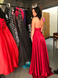 A Line Satin Sleeveless Red Prom Dresses