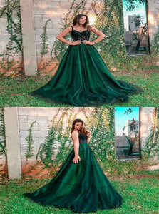 A Line Spaghetti Straps Dark Green Prom Dresses with Lace