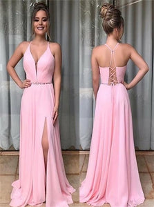 Pink Chiffon A Line Prom Dresses with Slit