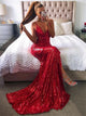 Mermaid Deep V Neck Red Sequined Prom Dresses With Split