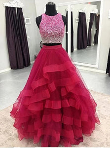 A Line Scoop Tulle Ruffles Red Floor Length Prom Dresses