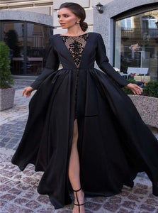 Ball Gown Black Satin Long Sleeves Prom Dresses with Slit