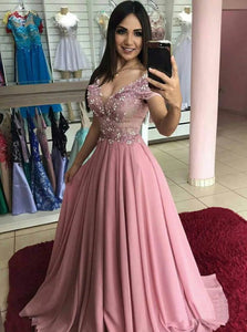 Chiffon A Line Off The Shoulder Appliques Sweep Train Prom Dress with Beadings