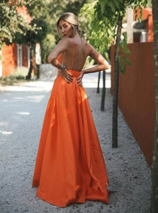 V Neck Sleeveless Backless Prom Dresses with Sweep Train