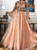 A line Long Sleeves Scoop Beadings Floral Prom Dresses